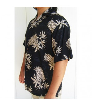 Hawaiian Rayon Aloha Shirt [ Pineapple Map ] Black