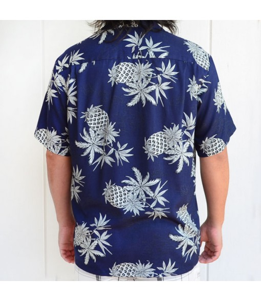 Hawaiian Rayon Aloha Shirt [ Pineapple Map ] Navy