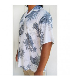 Hawaiian Rayon Aloha Shirt [ Pineapple Map ] White