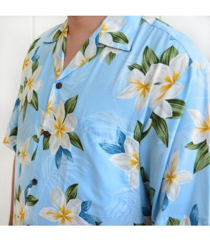 Hawaiian Rayon Aloha Shirt [ Plumeria Shower ] Blue