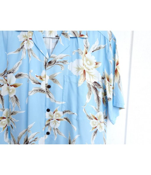 Hawaiian Rayon Aloha Shirt [ Retro Orchid ] Light Blue