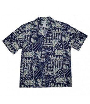 Hawaiian Rayon Aloha Shirt [ Rock Wall ] Navy