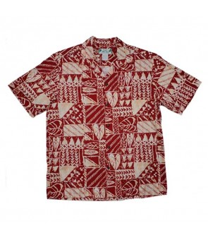 Hawaiian Rayon Aloha Shirt [ Rock Wall ] Red