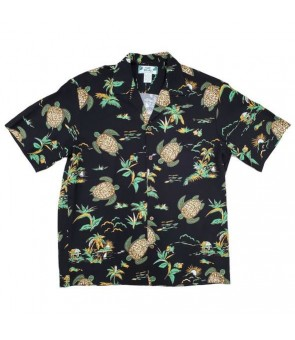 Hawaiian Rayon Aloha Shirt [ Turtles ] Black
