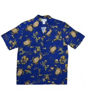 Hawaiian Rayon Aloha Shirt [ Turtles ] Navy