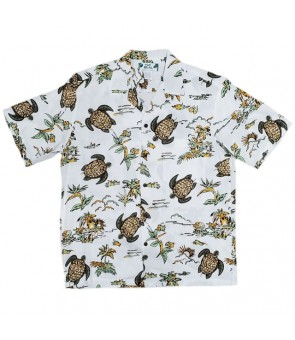 Hawaiian Rayon Aloha Shirt [ Turtles ] White