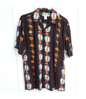 Hawaiian Rayon Aloha Shirt [ Vintage Hula Girl ] Black