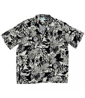 Hawaiian Rayon Aloha Shirt [ Wild Pineapple ] Black