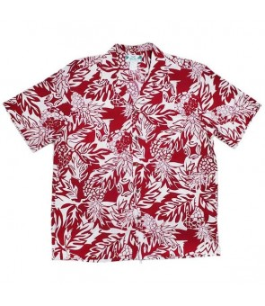 Hawaiian Rayon Aloha Shirt [ Wild Pineapple ] Red