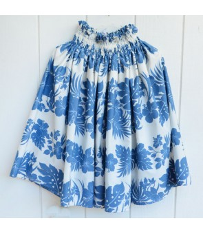 Hawaiian Single Pa'u Skirt [ Nahenahe Hibiscus ] Blue