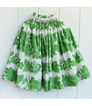Hawaiian Single Pa'u Skirt [ Nahenahe Hibiscus ] Green