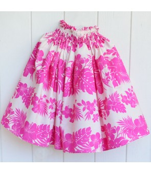 Hawaiian Single Pa'u Skirt [ Nahenahe Hibiscus ] Pink