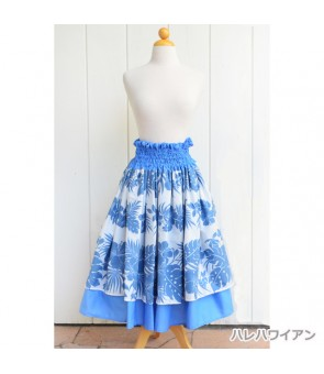 Hawaiian Double Pa'u Skirt [ Nahenahe Hibiscus ] Blue