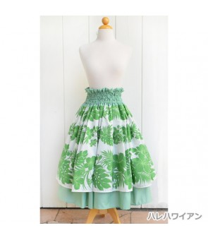 Hawaiian Double Pa'u Skirt [ Nahenahe Hibiscus ] Green