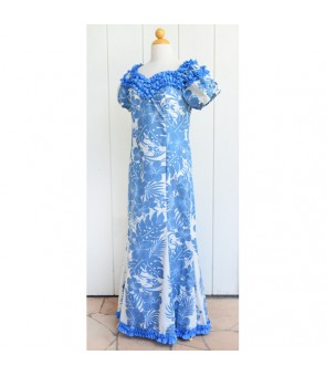 Hawaiian Poly Cotton Jenny Ruffle Long Muumuu Dress [ Nahenahe Hibiscus ] Blue
