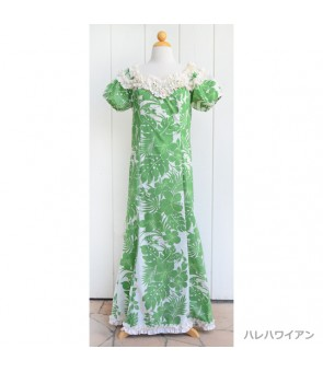 Hawaiian Poly Cotton Jenny Ruffle Long Muumuu Dress [ Nahenahe Hibiscus ] Green