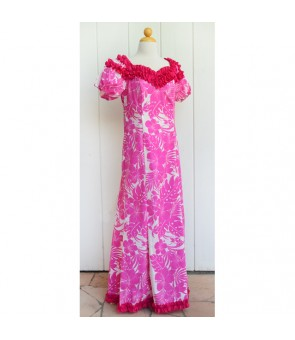 Hawaiian Poly Cotton Jenny Ruffle Long Muumuu Dress [ Nahenahe Hibiscus ] Pink
