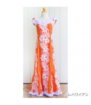 Hawaiian Poly Cotton Ruffle Long Muumuu Dress [ Hibiscus & Fern ] Orange