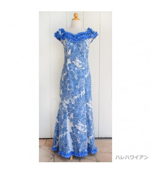 Hawaiian Poly Cotton Ruffle Long Muumuu Dress [ Nahenahe Hibiscus ] Blue