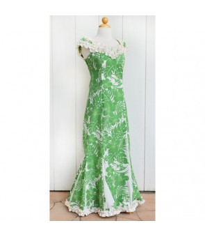 Hawaiian Poly Cotton Ruffle Long Muumuu Dress [ Nahenahe Hibiscus ] Green