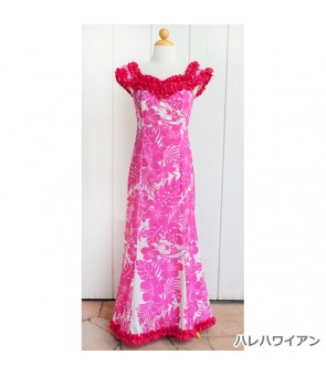 Hawaiian Poly Cotton Ruffle Long Muumuu Dress [ Nahenahe Hibiscus ] Pink