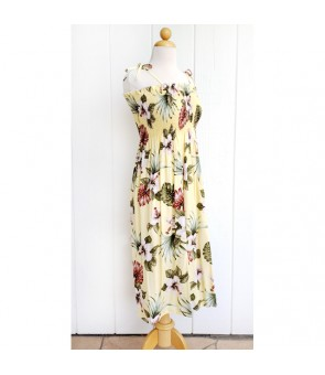 Hawaiian Rayon Tube Top Mid-Length Dress [ Hibiscus & Monstera ] Light Yellow
