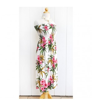 Hawaiian Rayon Tube Top Mid-Length Dress [ Lani Plumeria ] White