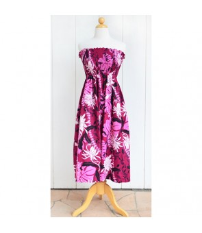 Hawaiian Cotton Tube Top Mid-Length Dress [ Makapu'u ] Purple