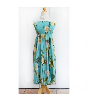 Hawaiian Rayon Tube Top Mid-Length Dress [ Ceres ] Green