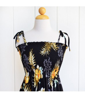 Hawaiian Rayon Tube Top Mid-Length Dress [ Fern Hibiscus ] Black