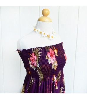 Hawaiian Rayon Tube Top Long Dress [ Fern Hibiscus ] Purple