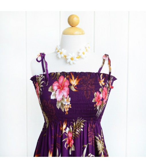 Hawaiian Rayon Tube Top Mid-Length Dress [ Fern Hibiscus ] Purple