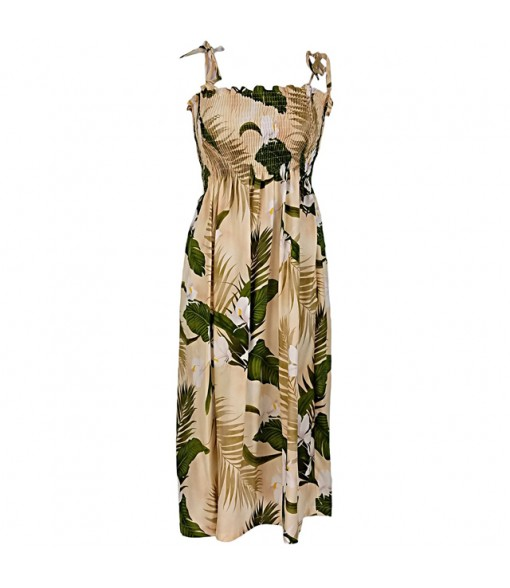 Hawaiian Rayon Tube Top Mid-Length Dress [ Ginger ] Cream