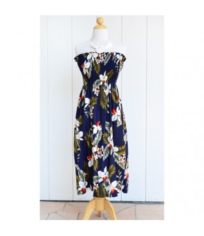Hawaiian Rayon Tube Top Mid-Length Dress [ Hawaiian Orchid ] Navy