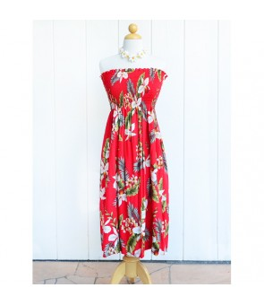 Hawaiian Rayon Tube Top Mid-Length Dress [ Hawaiian Orchid ] Red