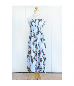 Hawaiian Rayon Tube Top Mid-Length Dress [ Hawaiian Orchid ] White
