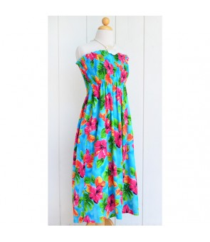 Hawaiian Rayon Tube Top Mid-Length Dress [ Hibiscus Watercolor ] Blue
