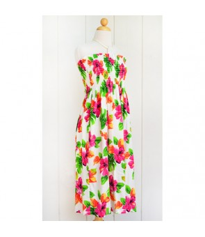 Hawaiian Rayon Tube Top Mid-Length Dress [ Hibiscus Watercolor ] White