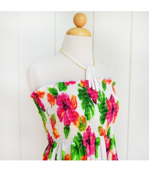 Hawaiian Rayon Girls Tube Top Dress [ Hibiscus Watercolor ] White