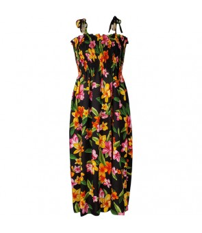 Hawaiian Rayon Tube Top Mid-Length Dress [ Happy Plumeria ] Black