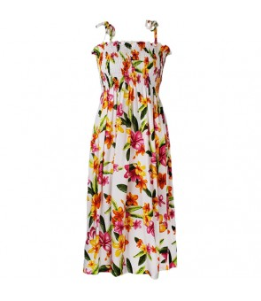 Hawaiian Rayon Tube Top Mid-Length Dress [ Happy Plumeria ] White
