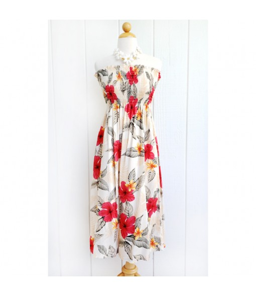 Hawaiian Rayon Tube Top Mid-Length Dress [ Leilani ] Cream