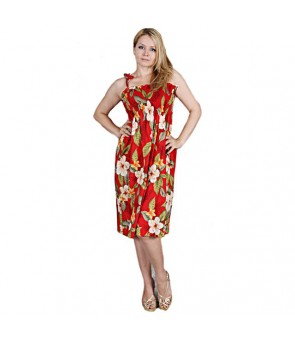 Hawaiian Rayon Tube Top Mid-Length Dress [ Leilani ] Red