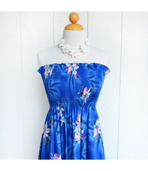 Hawaiian Rayon Tube Top Mid-Length Dress [ Midnight Orchid ] Blue