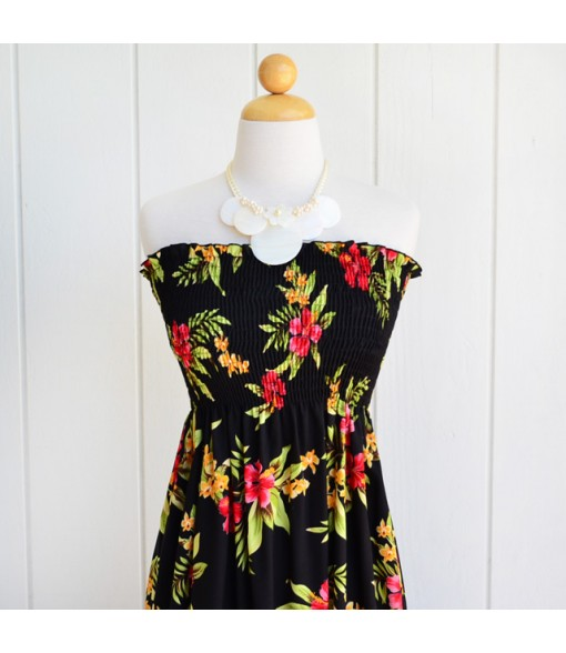 Hawaiian Rayon Tube Top Mid-Length Dress [ Mini Hibiscus ] Black