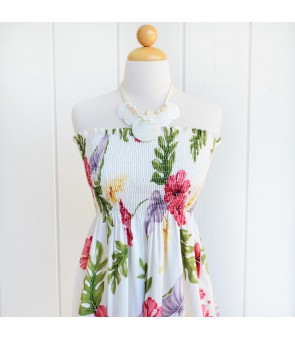 Hawaiian Rayon Tube Top Mid-Length Dress [ Monstera ] Cream