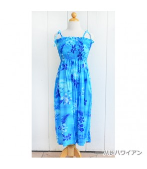 Hawaiian Rayon Tube Top Mid-Length Dress [ Moonlight Scenic ] Blue