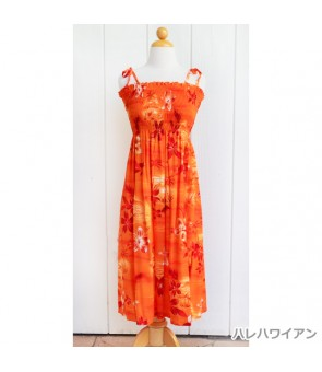 Hawaiian Rayon Tube Top Mid-Length Dress [ Moonlight Scenic ] Orange