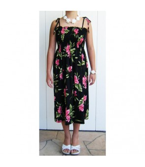 Hawaiian Rayon Tube Top Mid-Length Dress [ Orchid Fern ] Black