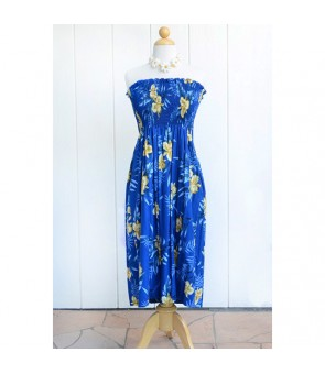 Hawaiian Rayon Tube Top Mid-Length Dress [ Orchid Fern ] Blue